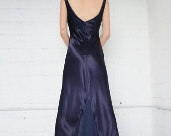 bias cut long dress, 90s navy blue satin maxi dress w/ chiffon back train, goth romantic, semi formal, 30s inspired, womens small