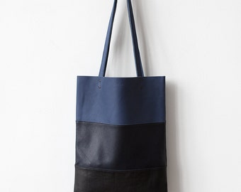 SPRING SALE Ombre Leather Tote navy blue black bag