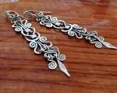 Tribal silver earrings, long dangle earrings, sterling silver statement earrings, celtic knot earrings, handcrafted filigree boho earrings