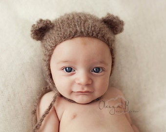 IN STOCK Newborn Mohair Bear bonnet, Baby bear hat, Newborn Bear outfit - Photography prop