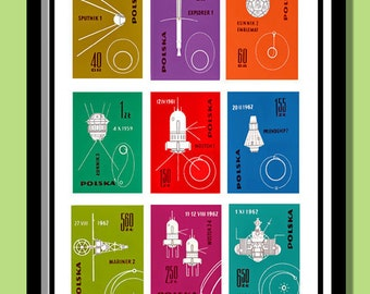 Space Print, Eary Space Exploration. Vintage stamp poster A2 size. Space wall art. Satellites ,rockets print. Stamp prints. Pollish poster