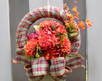 Ribbon Wrapped Wreath, Ribbon Bow, Red and Green Plaid, Orange, Red, Burgundy Flowers