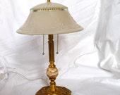 Antique French Gilt Bronze Lamp - 1920's Boudoir Lamp-Paris  Style Lighting