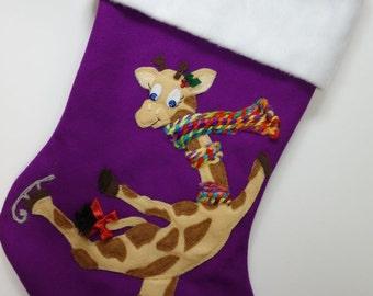 "Cute Christmas Stocking--""Giraffe on Skates"""