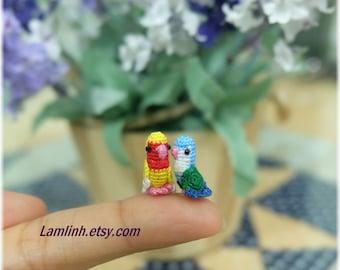 dollhouse miniatures micro crochet couple of parrots - teeny amigurumi bird - 0.5 inch long