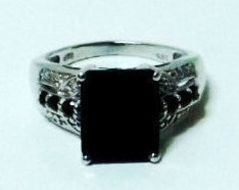 Thai Black Spinel, Diamond Ring
