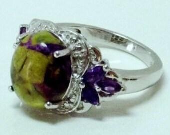 Tasmanian Stichtite, Amethyst Ring