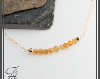 Smooth Citrine Stone Bar Necklace, Gold Necklace, Gemstone Necklace, Minimalist Necklace, Carrie Style Necklace,Gemstone Necklace