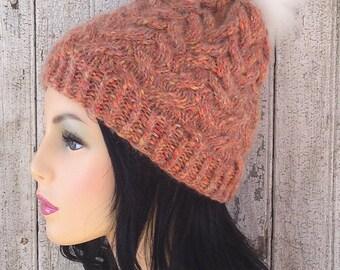 Frosty Orange Alpaca Pom Pom Hat