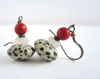 dalmation - earrings with dalmation jasper and red bead