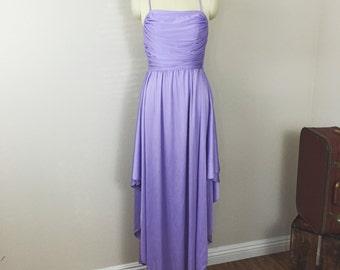 Vintage Disco 70s slinky Lavender high slit maxi party Dress / Small vintage 1970s
