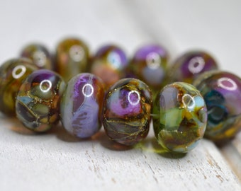 SRA handmade multicolor aqua, sky blue with amber, lavender, ivory and pure silver set of (11) shiny finished Lampwork Beads 62116-8