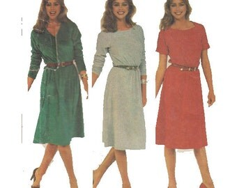"80s Dress Bateau Neckline Raglan Sleeves Knits Women's Vintage Sewing Pattern Size 6 8  Bust 30.5-31.5"" (78-80 cm) McCall's 7214 S"