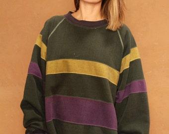 classic 90s color block striped GRUNGE sweatshirt