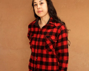 60s twin peaks WOOLRICH vintage PLAID button down up blouse shirt
