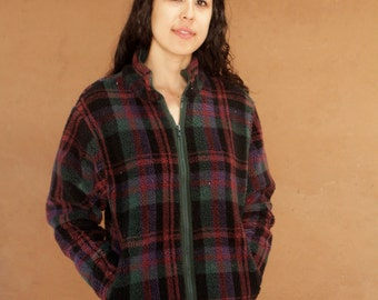 90s GRUNGE fleece plaid dark red soft PATAGONIA style