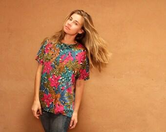 vintage hawaii MAUI teal & pink SURFING shirt