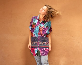 vintage fresh prince BATIK versace style 90s in living color SLOUCHY oversize floral grunge blouse shirt