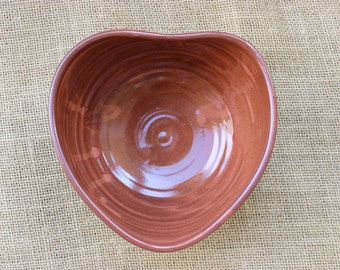 Heart shaped pottery bowl, wheel thrown, altered bowl, ready to ship