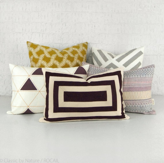 Red wine geometric throw pillows - 12x18 inches decorative pillow case, cushion cover - Purple Fig and Ecru Beige - Modern home decor