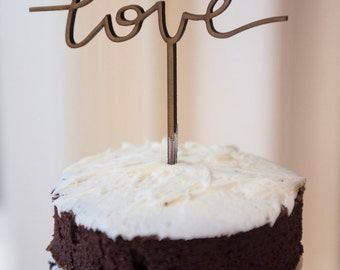Wedding Cake Topper, Wood Cake Topper, Rustic Wedding No. 302-T (Free Shipping)