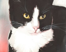 Original Watercolor Painting Tuxedo Cat Black and White Cat Kitty Kitten Loving Eyes Free Shipping