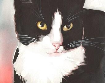 Original Watercolor Painting Tuxedo Cat Black and White Cat Kitty Kitten Loving Eyes Free Shipping