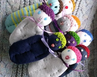 Lavender Filled Sock Doll Sachets Set Of Ten (10) - Desk Home Decor Aromatherapy FREE SHIPPING in USA