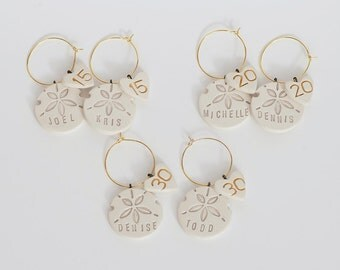 Sand Dollar Personalized Ceramic Wine Glass Charms and Beach Wedding Favors -15th 20th 30th Anniversary