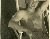 "Vintage Photo ""Catching Afternoon Rays"" Shirtless Boy Snapshot Photo Old Photo Black & White Photograph Found Paper Ephemera Vernacular - 41"