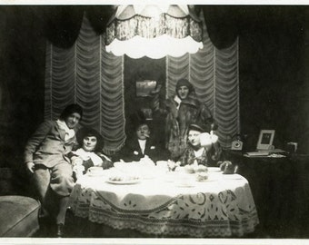 """Vintage Photo """"Mr. West and His Halloween Guests"""" Snapshot Antique Photo Old Black & White Photograph Found Paper Ephemera Vernacular - 135"""