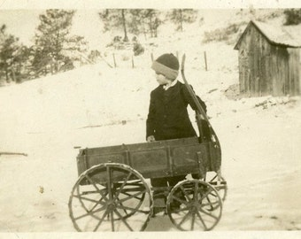 "Vintage Photo ""Winter Wagon"" Wood Toy Boy Snow Snapshot Photo Antique Old Black & White Photograph Found Paper Ephemera Vernacular - 64"