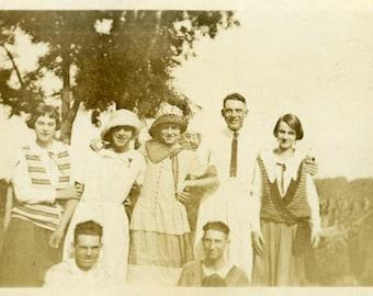 "Vintage Photo ""Happy and Peachy"" Snapshot Photo Old Antique Photo Black & White Photograph Found Paper Ephemera Vernacular - 76"