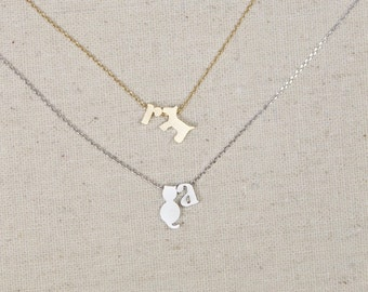 Cat or Dog Lover Necklace, Initial, Minimalist, Pet Lover, Gift for Her, Animal Name, Best Friends