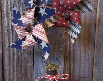 Trio of Primitive Handmade Americana Pinwheels in Vintage Metal Door Knob