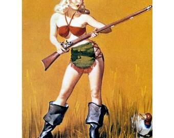 Pinup Girl w Gun Hunting Greeting Card - Repro Gil Elvgren - Duck Hunter