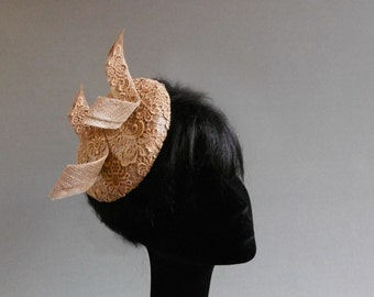 made with passion this goldtone lace percher hat on comb