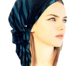 Turquoise Black Head Scarf Stripes Soft Cotton Knit Black Lace Boho Chic Pre Tied Bandana Tichel Hair Snood Chemo Hat Cap Wrap Hippie
