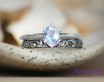 Oval Classic Solitaire Tendril and Vine Wedding Band Set in Silver - Oval Engagement Ring Floral Pattern Band Bridal Set - Choice of Stone