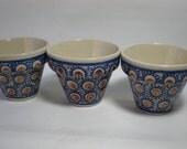 Sweet Set of Vintage Polish Pottery Ceramic Decorative Pots