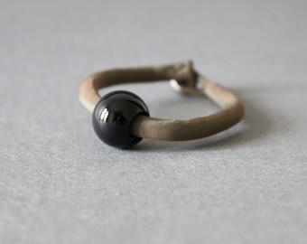 Silk Bracelet with Simple Onyx Charm (Green)