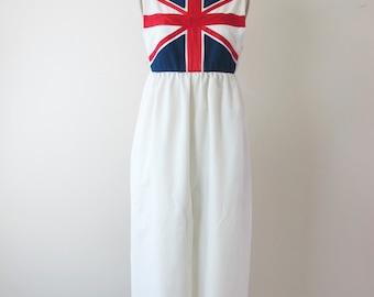 1970s British Flag Jumpsuit Dress