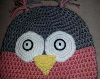 Crocheted  Owl Hat Fits a 17 inch head , pink and gray with white eyes and yellow beak