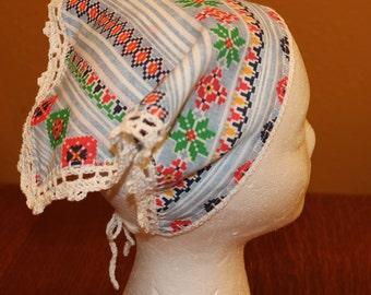 Scandinavian Print Head Kerchief with Filet Crochet Edge and Ties for Teen or Adult