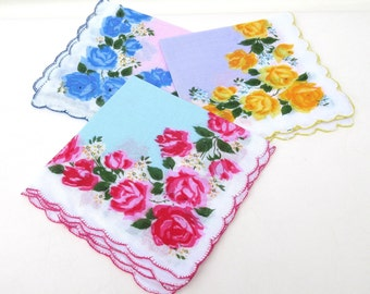 Vintage Hankies | Handkerchief Set | Floral Hankies | Ladies Handkerchiefs  - Set of 3