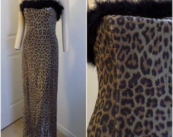 Vintage Leopard Print Mylar Maxi Dress Trimmed in Marabou Size 7/8 small