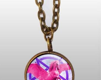 pink unicorn necklace with pentagram / flying unicorn pendant / winged unicorn jewellery / pegasus accessory / unicorn with wings / occult