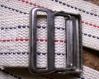 Vintage White Webbing Belt with Blue and Red Stripes