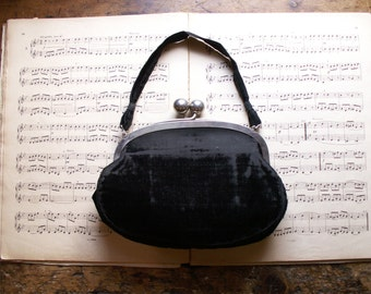 Vintage Black Velvet Clutch Purse with Silver Ball Clasp - Glamorous Retro Style