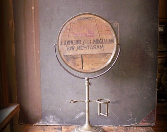 Vintage Large Adjustable Shaving Stand with Round Beveled Mirror, Metal Cup Holder and Brush Bracket - Great Guy Gift!